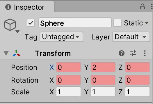Sphere オブジェクトの Inspector