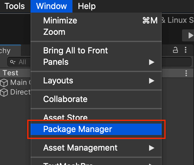 Unity の Package Manager の場所