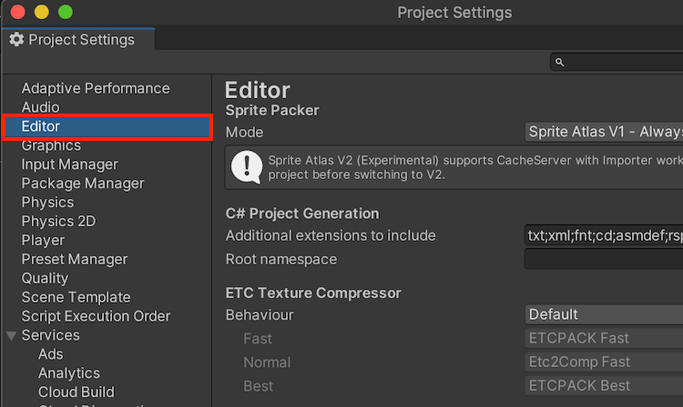 Project Settings の Editor