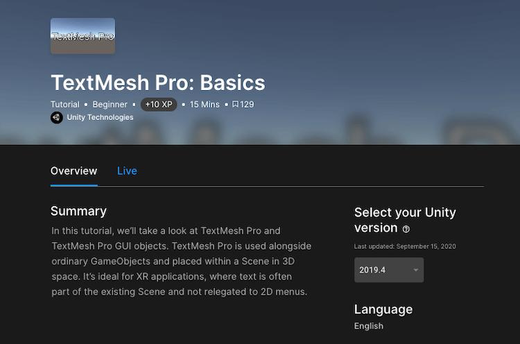 Unity Learn の TextMesh Pro: Basics