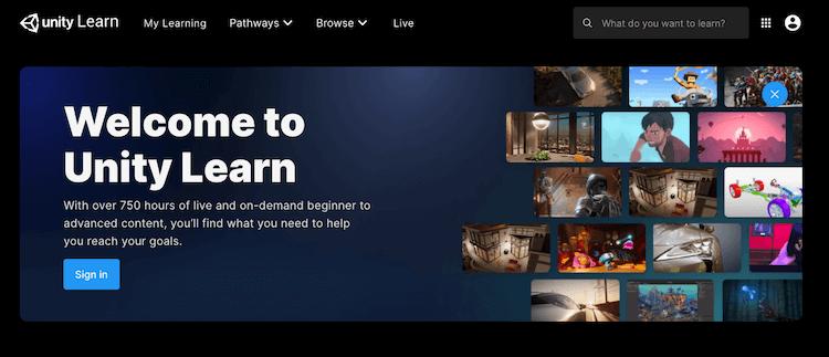 Unity Learn のトップページ