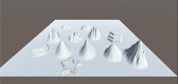 Terrain: Raise or Lower Terrain のブラシ例