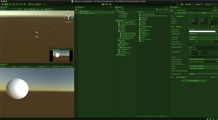 Unity 実行時の色変更結果